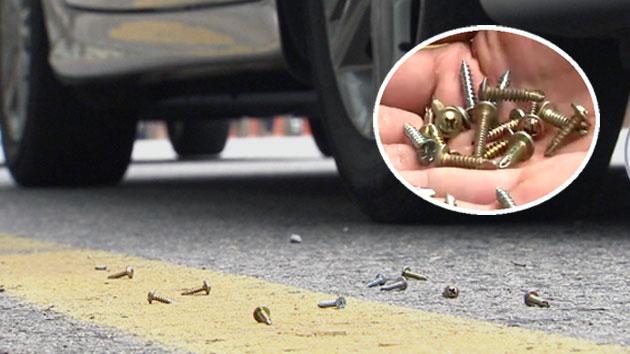 누군가 뿌린 '나사못 지뢰'…차량 천여 대 피해