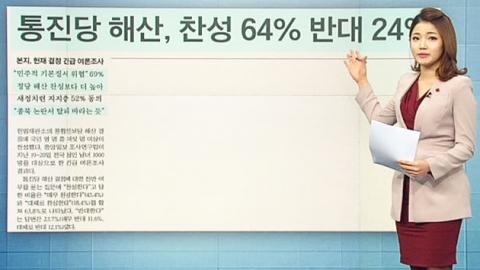 [아침신문1면]통진당 해산 찬성 64%·반대 24%