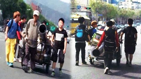 '비틀' 내리막길 노인…손수레 잡아준 초등생