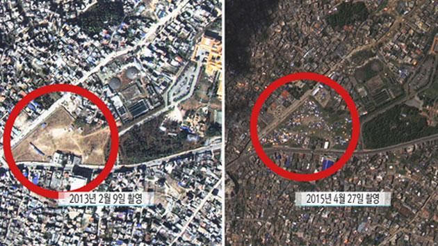 우주에서 본 네팔 지진 참사 현장