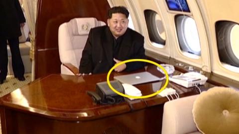 미사일 발사장 시찰하는 김정은과 애플 컴퓨터