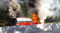고속도로에서 관광버스 불...승객 28명 긴급 대피
