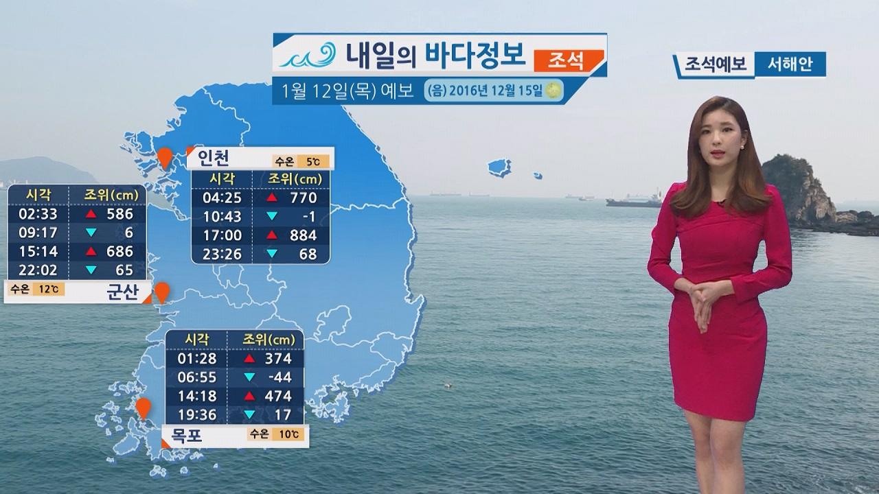[내일의 바다정보] 1월 12일 다음 주까지 강풍주의보, 풍랑주의보 이어져 안전 주의 바람