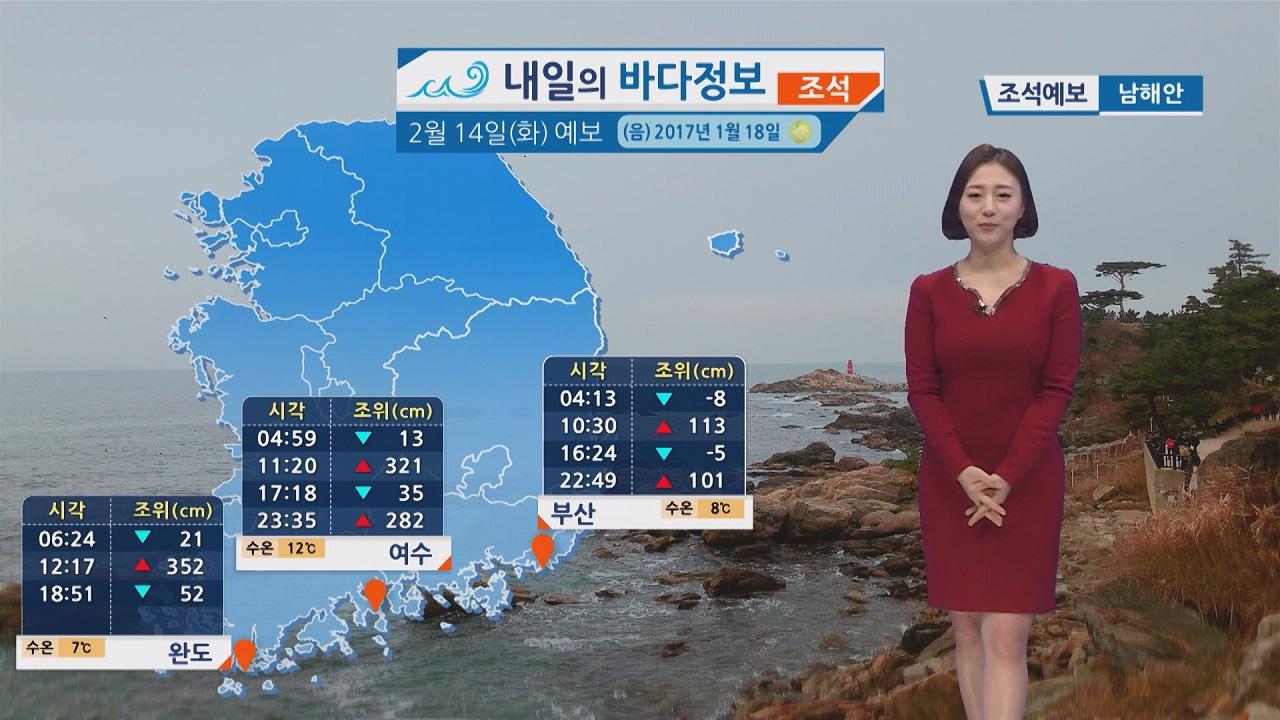 [내일의 바다 정보] 2월 14일 대조기로 조차가 크고 유속이 빨라 해양활동 시 유의해야