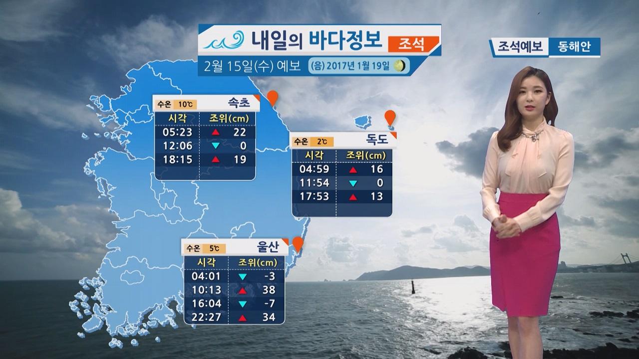 [내일의 바다 정보] 2월 15일 낮과 밤의 일교차가 크고 대기가 무척 건조 화재 유의