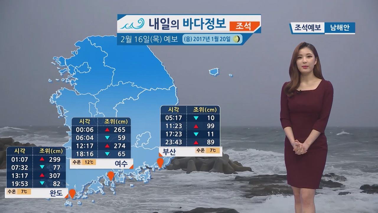 [내일의 바다 정보] 2월 16일 강한 바람 영향 물결 높게 일어 먼바다 풍랑특보 예상