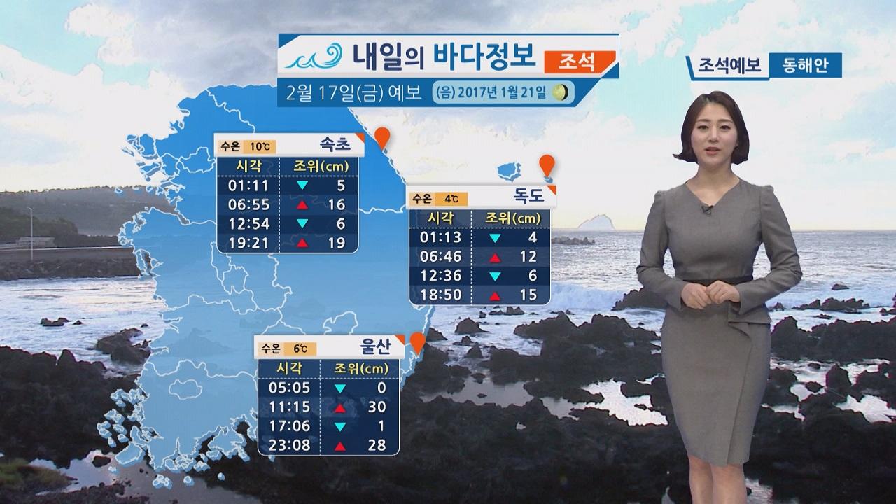[내일의 바다정보] 2월17일 먼바다 중심으로 풍랑특보 내려져, 선박 각별히 주의해야