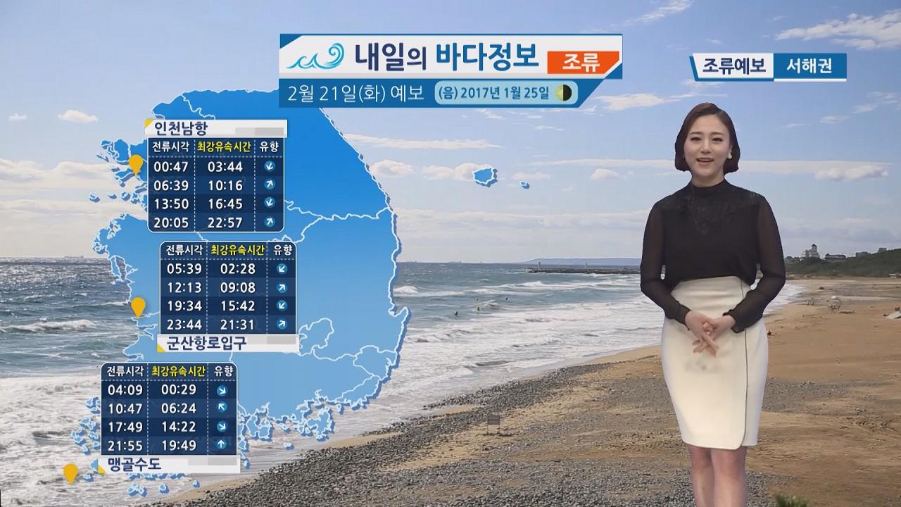 [내일의 바다 정보] 2월 21일 강한 바람 높은 물결, 동해안 너울성 파도 안전사고 유의