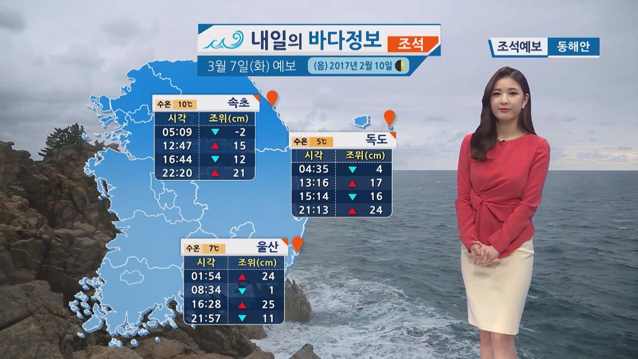 [내일의 바다 정보] 3월 7일 경기남부 포함 전국 곳곳 눈 내리고 기온 떨어져 추위 예상