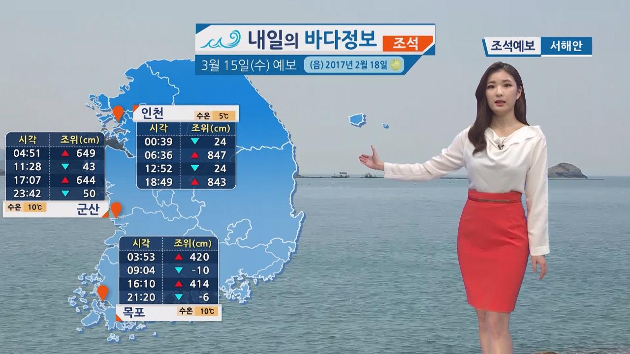 [내일의 바다 정보] 3월 15일 당분간 일교차 크게 벌어져, 건강관리 유의해야
