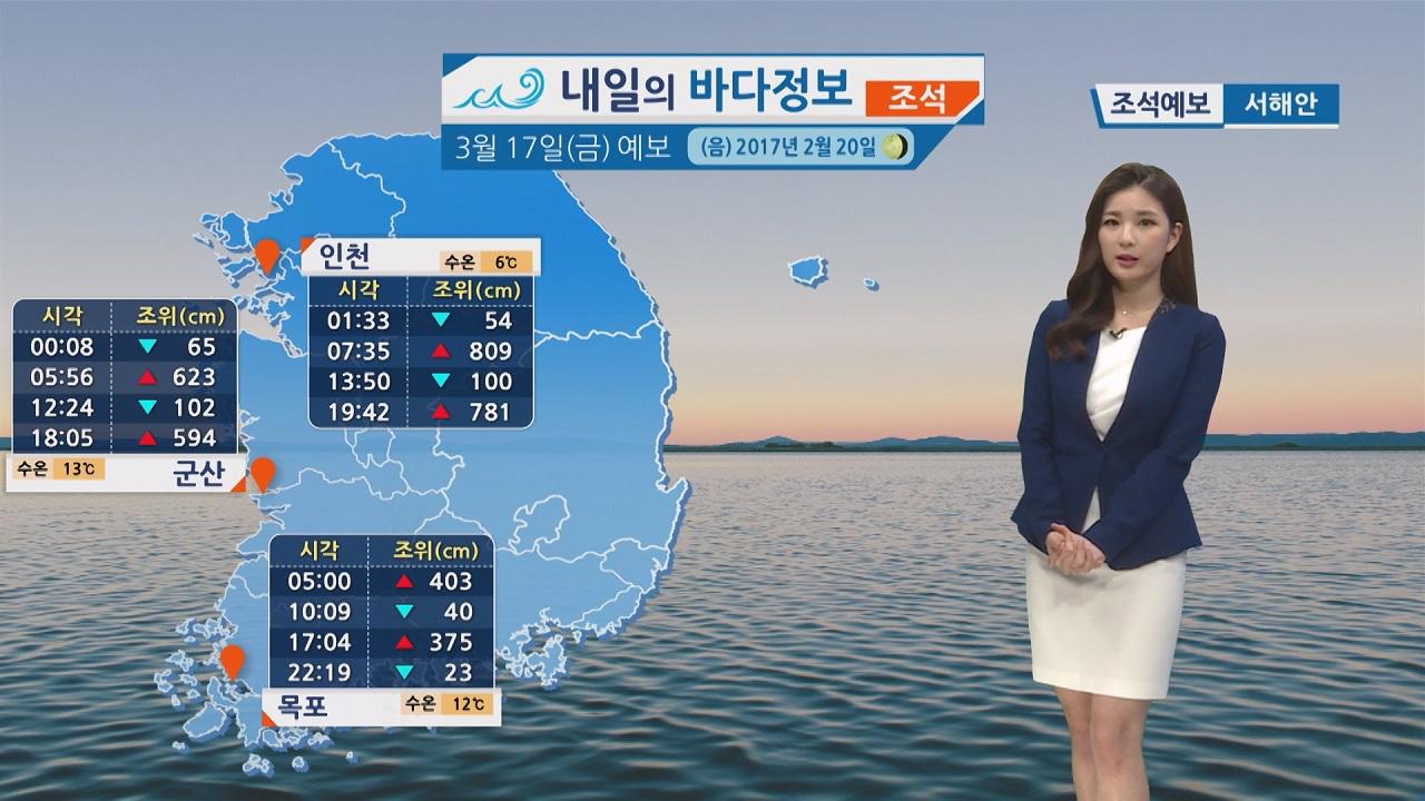 [내일의 바다 정보]  3월 17일 아침 저녁 쌀쌀한 날씨 점차 조차 작고 유속 느려져