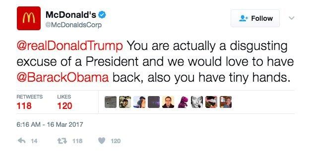 맥도날드 공식 계정이 쏟아낸 '용감한 막말'?