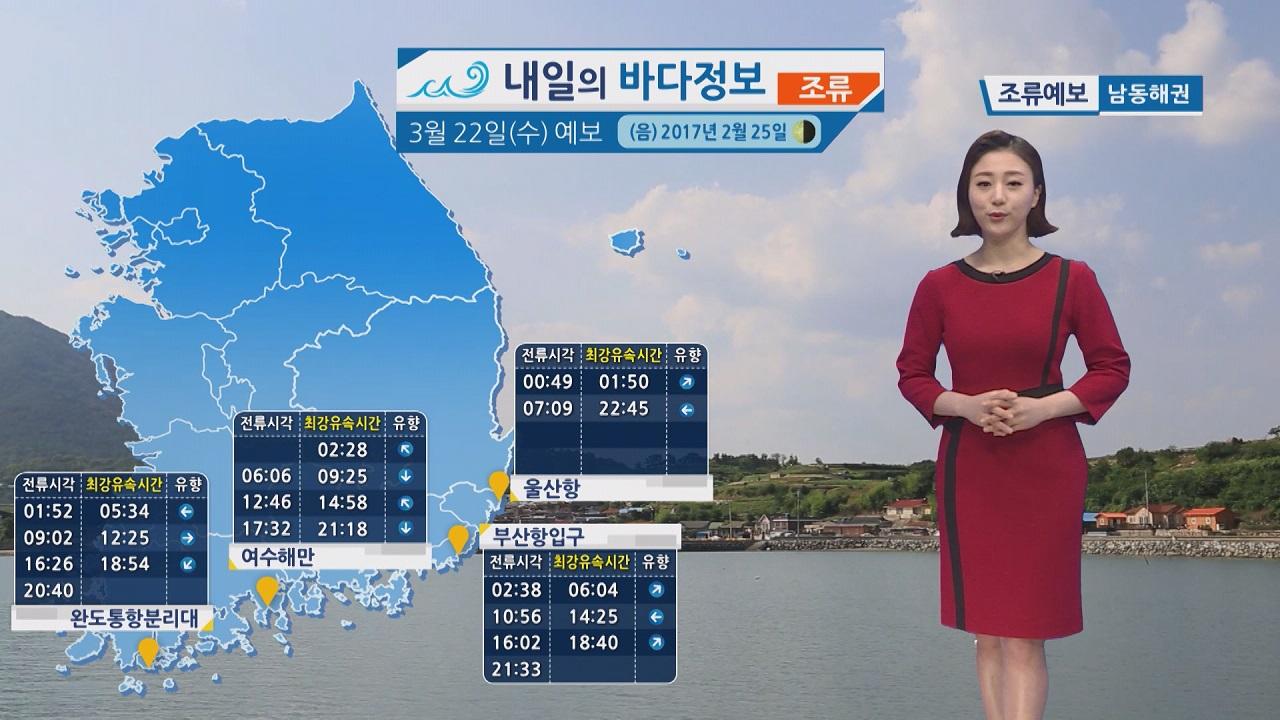 [내일의 바다 정보]  3월 22일 밤사이 풍랑주의보 해제되나 안전에 각별히 유의 바람