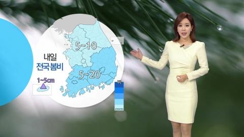 우산 준비하세요...내일 비 내리고 쌀쌀