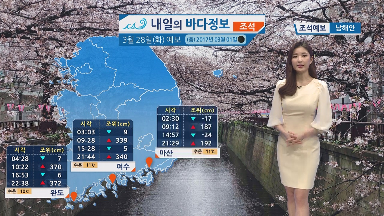 [내일의 바다 정보] 3월 28일 대조기에 접어들고 낮은 기온 낚시 시 옷차림에 신경써야