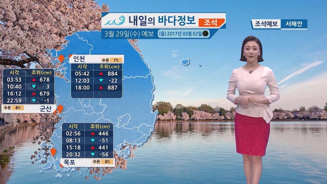 [내일의 바다 정보] 일교차 큰 날씨 예상, 곳곳에 비 내리는 곳 있어