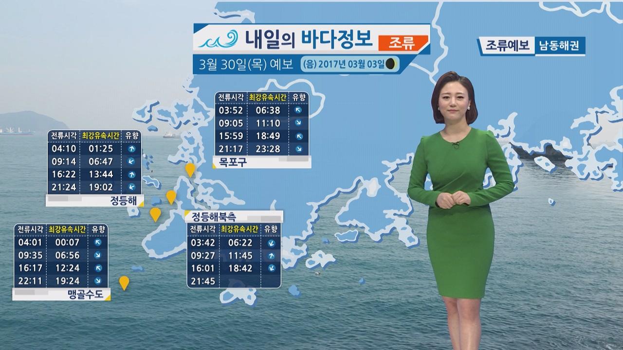 [내일의 바다 정보] 3월 30일 황해 남해상 해무 영향 항해 조업 시 유의 바람