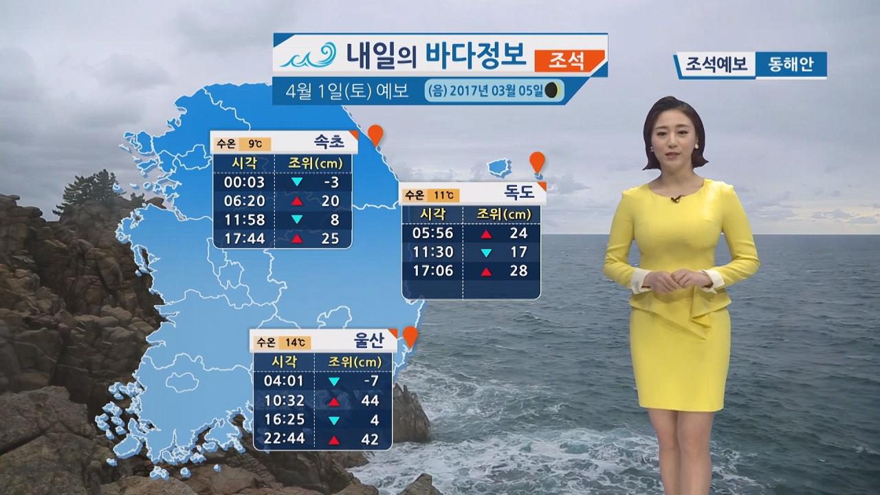 [내일의 바다 정보] 4월1일 먼바다 강한 바람 높은 물결 동해상 돌풍 번개 주의