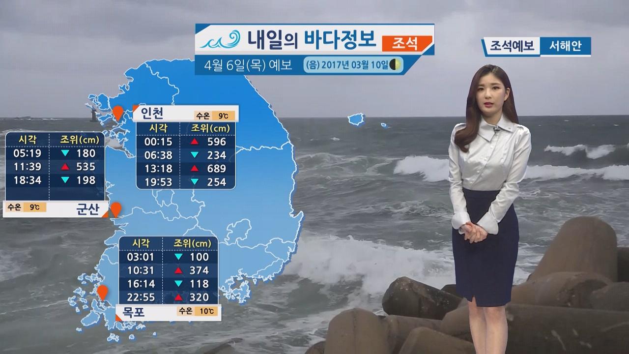 [내일의 바다 정보] 4월 6일 남해 동부 서해 강한 바람 높은 물결,  해무 짙어 주의