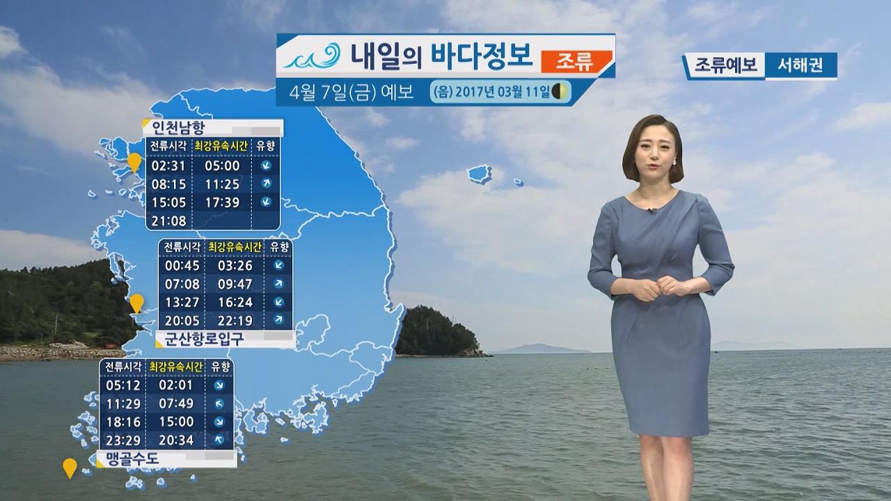 [내일의 바다 정보] 4월 7일 남해상 돌풍과 천둥 번개 예상 주말 대부분 해상 해무 영향