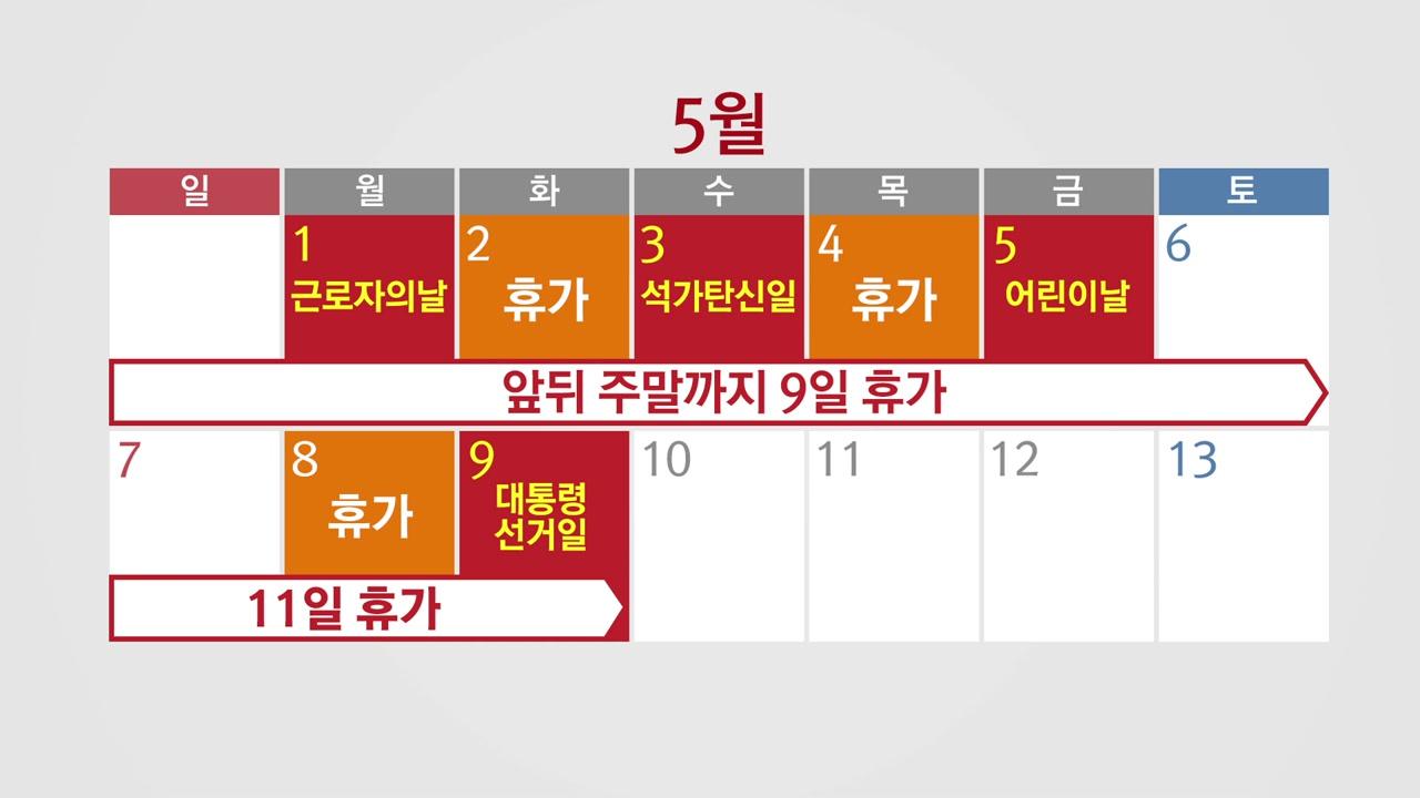 5월 '황금연휴' 누리는 대기업...최장 11일 쉰다