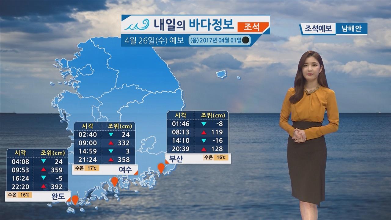 [내일의 바다 정보] 4월 26일 조차 크고 유속 빠른 대조기, 전 해상 짙은 해무 영향