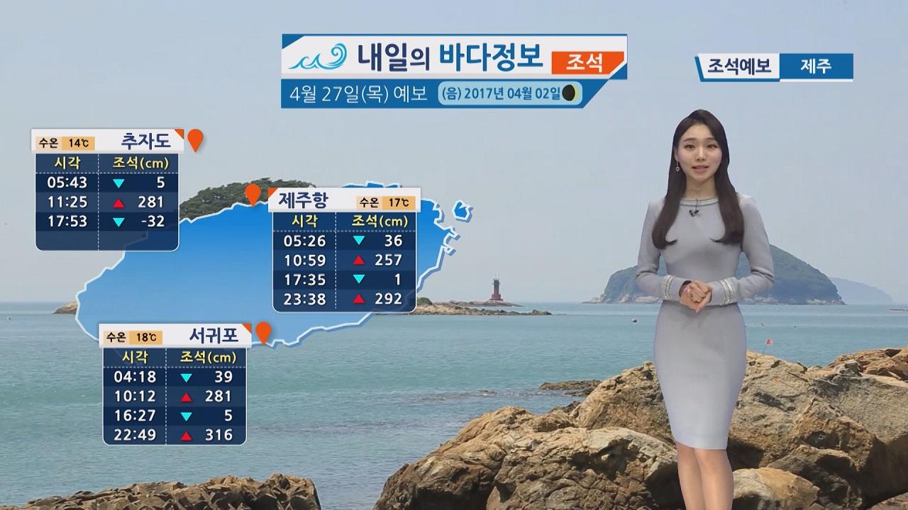 [내일이 바다 정보] 4월 27일 일교차 큰 봄, 대조기 영향 저지대 침수피해 주의해야