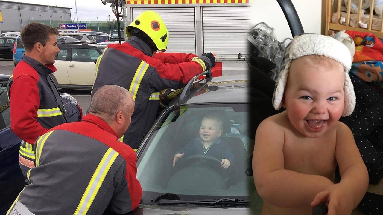 '차 안에 갇혀서도 활짝' 마냥 즐거운 아기의 미소