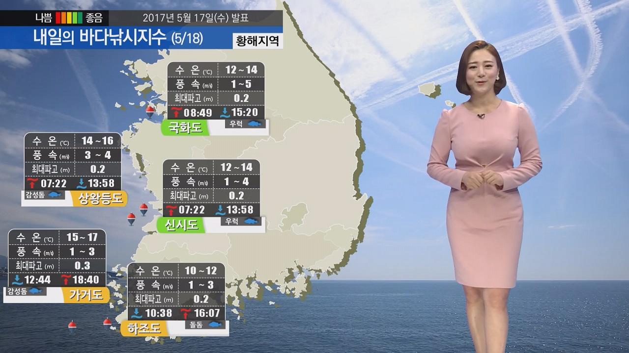 [내일의 바다낚시지수] 5월 18일 맑고 온화한 날씨 속 전 해상 해무 영향 있을 듯 주의