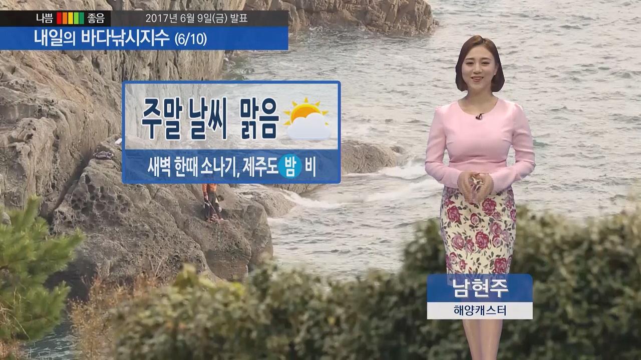 [내일의 바다낚시지수] 6월 10일 주말 대체로 바다낚시 즐기기에 무난하나 낮 기온 서늘