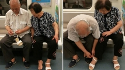 지하철에서 아내 신발 끈 매주는 '사랑꾼' 할아버지