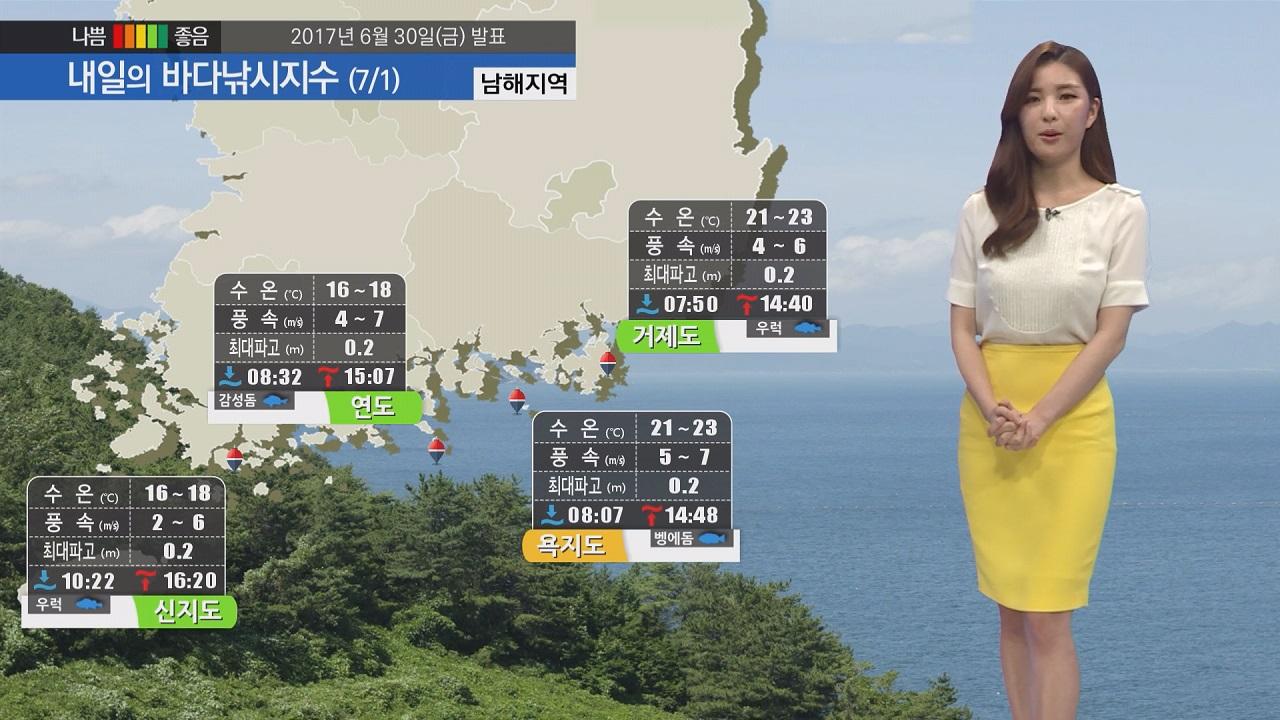 [내일의 바다낚시지수] 7월 1일 경북 내륙 폭염주의보, 전해상 해무 영향 시야확보 유의