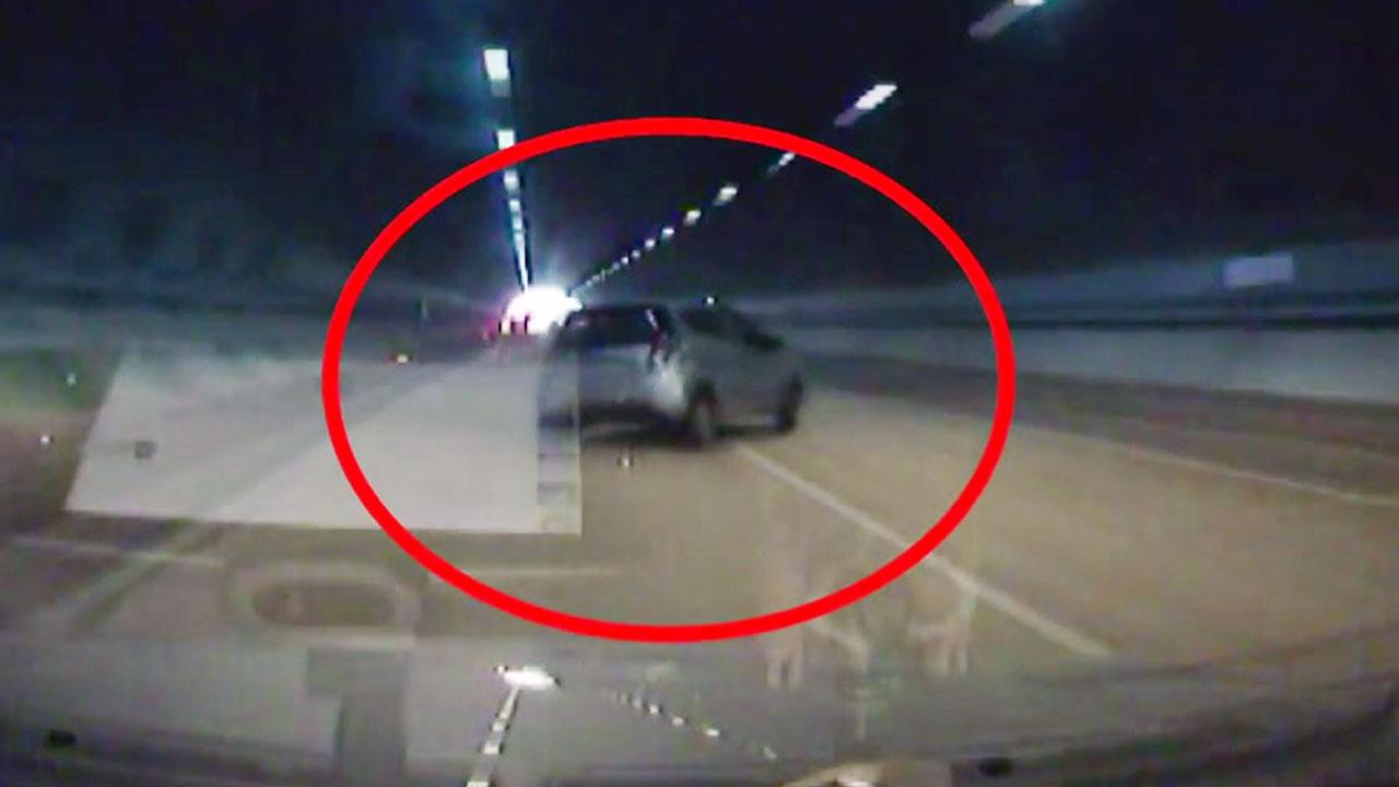 [영상] 영동고속도로 터널에서 '아찔한 전복 사고'