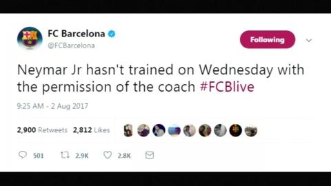 네이마르, PSG 이적 초읽기...바르셀로나에 이별 통보