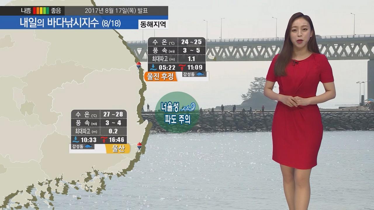 [내일의 바다낚시지수] 8월18일 전국 흐리고 비 소식, 동해 너울성 파도 안전사고 주의