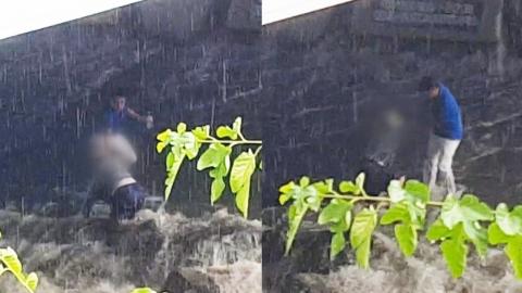 [단독영상] 청계천 물살에 휩쓸린 할머니, 시민이 구조