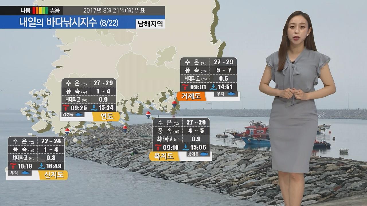 [내일의 바다낚시지수] 8월21일 지역별 비 소식 있어 갯바위 안전화 구명동의 착용 필수