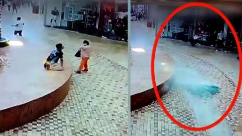 [영상] 깨진 천장 유리 2번이나 피한 중년 여성