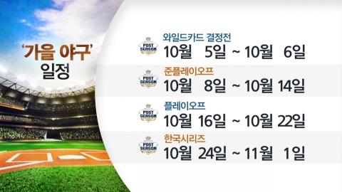 '가을 야구' 오늘 스타트...NC-SK 와일드카드 격돌