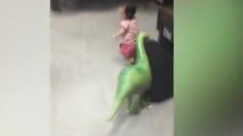 '아빠 공룡이 쫓아와요'...공룡 풍선에 기겁한 딸