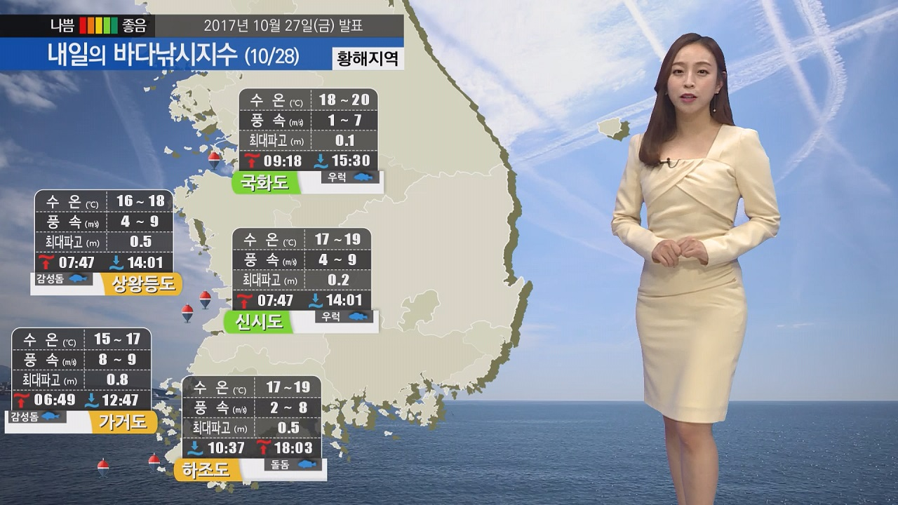 [내일의 바다낚시지수] 10월28일 내륙을 중심으로 맑을 가을 하늘 예상돼
