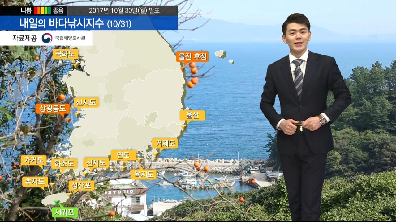 [내일의 바다낚시지수] 10월 31일 기온이 차가운 날씨 곳곳 강한 바람과 높은 파고 예상