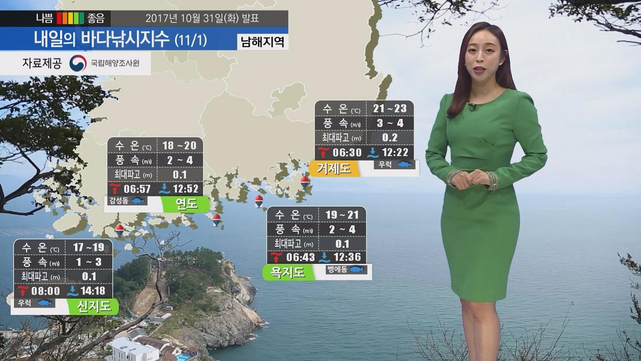 [내일의 바다낚시지수] 11월 1일 아침 기온 여전히 낮아,옷차림 든든히 해야
