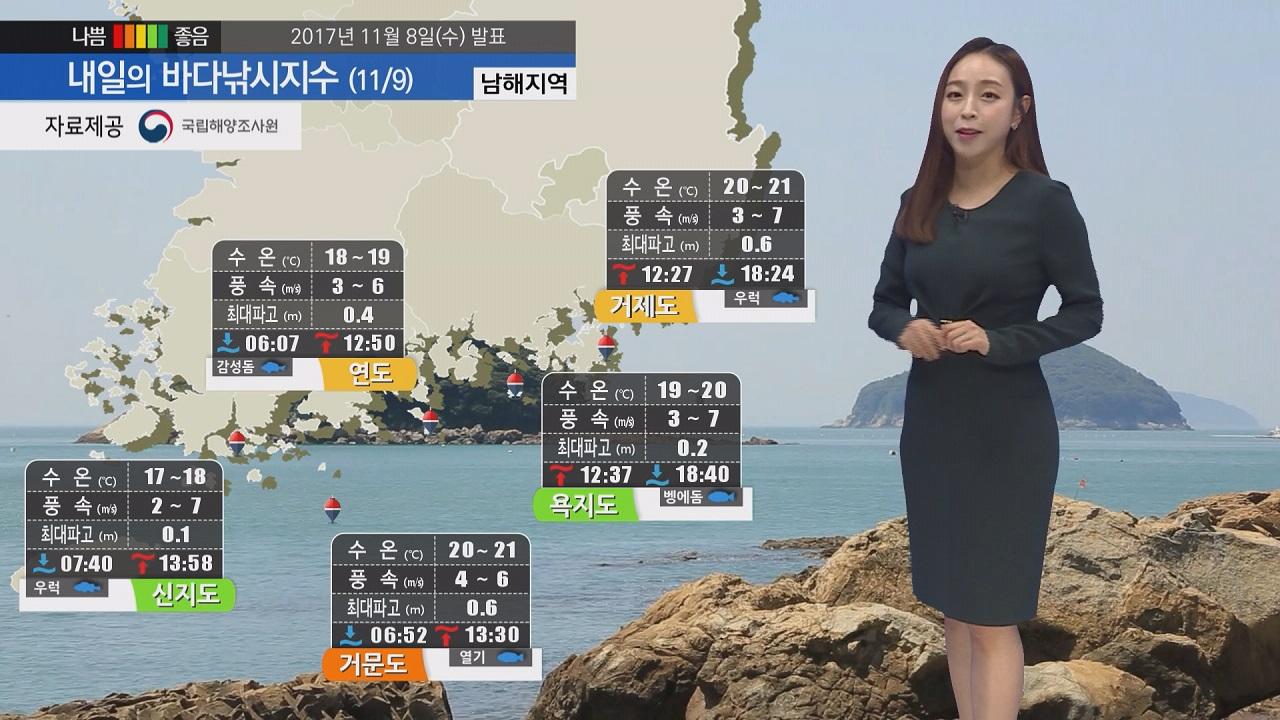 [내일의 바다낚시지수] 11월9일 목요일 기온 크게 떨어여 옷차림 따뜻하게 해야