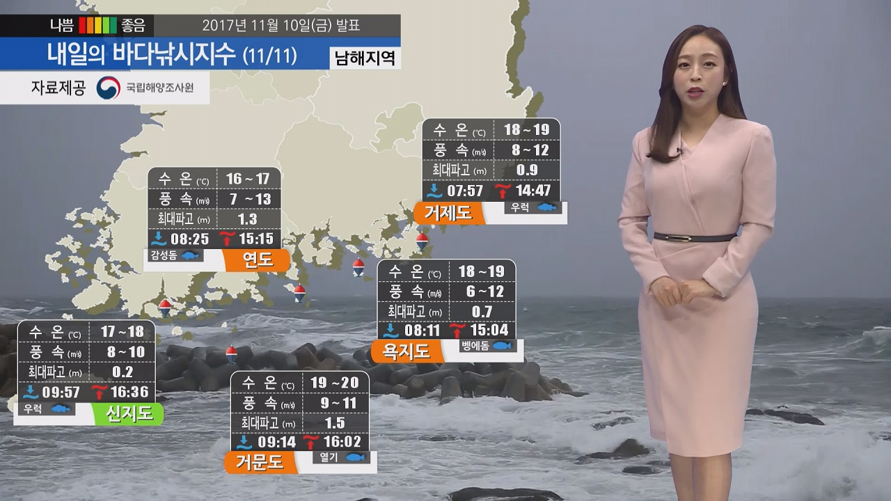 [내일의 바다낚시지수] 11월11일 토요일 강한바람 높은 물결로 특보지역 확대 출조 어려워