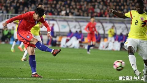 '손흥민 연속골' 축구대표팀, 콜롬비아에 승리