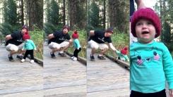떨어지는 아이 구한 '아빠의 순발력'