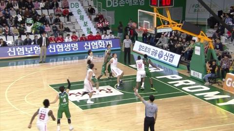 원주DB, 선두 서울 SK 꺾고 3연승