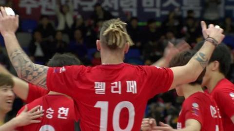'펠리페 21점' 한전, OK저축은행 꺾고 2연승