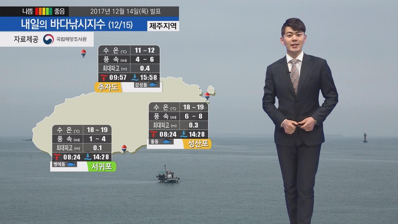 [내일의 바다낚시지수] 12월15일 오후 영상날씨, 아침 저녁 추워 보온 신경써 출조 해야